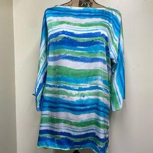 L Lauren Ralph Lauren Tunic Style Water Color Stri